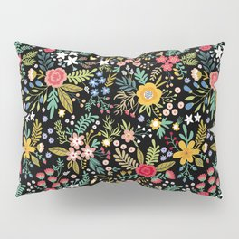 Amazing floral pattern with bright colorful flowers, plants, branches and berries on a black backgro Pillow Sham