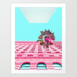 Palm Tree and Building Look Up in LA Art Print