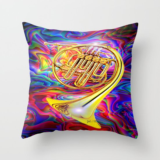 Psychedelic French horn Throw Pillow