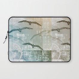 Free Like A Bird Seagull Mixed Media Art Laptop Sleeve