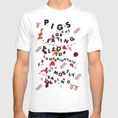 Pig Ate My Pizza Mens Fitted Tee SMALL White