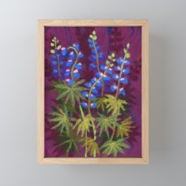 Lupines, wool painting Framed Mini Art Print