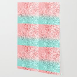 Summer Vibes Glitter #3 #coral #mint #shiny #decor #art #society6 Wallpaper
