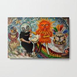 Gatos Malos, or Bad Kitties, portrait surrealist mural painting by A. Colunga Metal Print