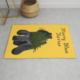 Merry Blue Terrier (Yellow Background) Rug