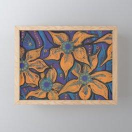 Golden flowers, decorative painting, pastel, floral motive Framed Mini Art Print