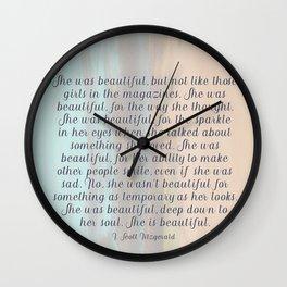She Was Beautiful By F. Scott Fitzgerald 4 #painting #minimalism #poem Wall Clock