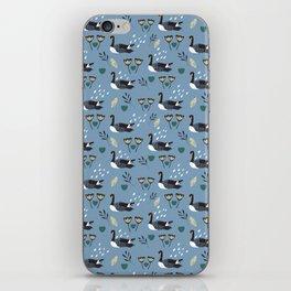 Geese in the rain - blue iPhone Skin