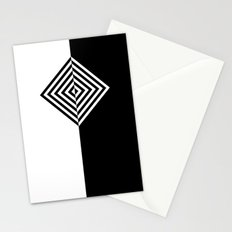 Black and White Concentric Diamonds Stationery Cards