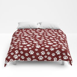 Puppy Prints on Maroon Comforters