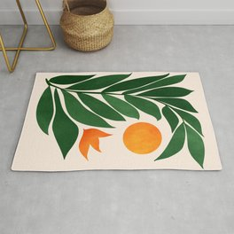 Tropical Forest Sunset / Mid Century Abstract Shapes Rug