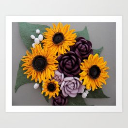 Sunflowers Roses Paper Quilled Flowers Art Print