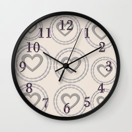 Cute Silver Cream Hearts Pattern Wall Clock