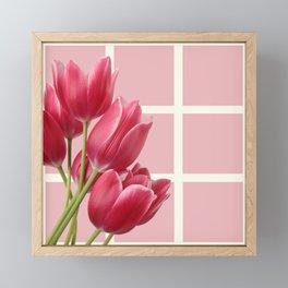 Beautiful Tulips & Pink Square Grid Framed Mini Art Print