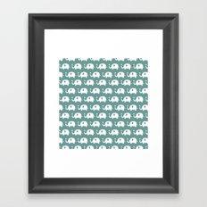 Elephants in love (turquoise) Framed Art Print