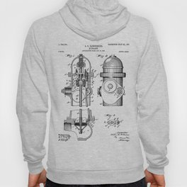 Fire Fighter Patent - Fire Hydrant Art - Black And White Hoody