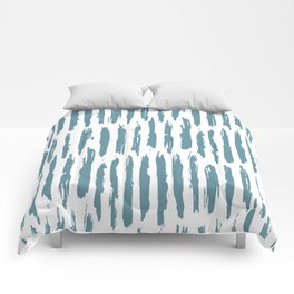 Vertical Dash Teal on White Comforters
