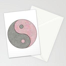 Yin Yang Esoteric Symbol Pastel Pink And Grey Stationery Cards