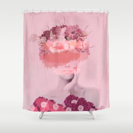 Woman in flowers Shower Curtain