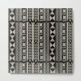 Boho Mud cloth (Black and White) Metal Print