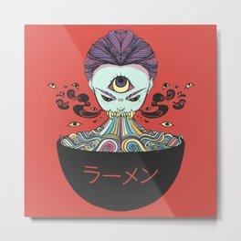 Rainbow Ramen Noodles Anime Monster Girl Metal Print