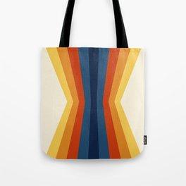 Bright 70's Retro Stripes Reflection Tote Bag
