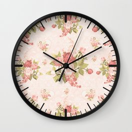 Romantic Vintage Roses and Hearts with Roses Wall Clock
