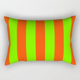 Bright Neon Green and Orange Vertical Cabana Tent Stripes Rectangular Pillow