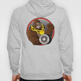 Angry gorilla with dumbbell  Hoody