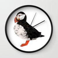 puffin Wall Clocks featuring Puffin by LuftStudio