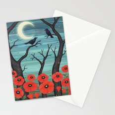 crows, fireflies, and poppies in the moonlight Stationery Cards