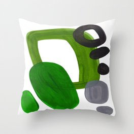 Mid Century Vintage 70's Design Abstract Minimalist Colorful Pop Art Olive Green Dark Green Grey Deko-Kissen