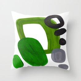 Mid Century Vintage 70's Design Abstract Minimalist Colorful Pop Art Olive Green Dark Green Grey Deko-Kissen