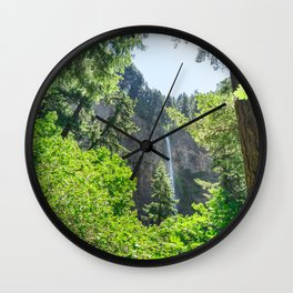 View of Multnomah Falls surrounded by forest in Oregon Wall Clock