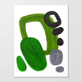 Mid Century Vintage 70's Design Abstract Minimalist Colorful Pop Art Olive Green Dark Green Grey Canvas Print