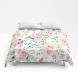 Blush pink watercolor elegant roses floral Comforters