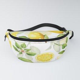 mediterranean summer lemon branches on white Fanny Pack