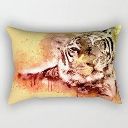 Tiger Watercolor, Painted Tiger Art, Cool Tiger, Splatter Tiger Design, Tiger Decor, Vintage Tiger Rectangular Pillow