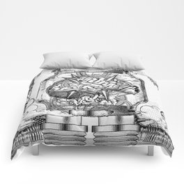 Mother Brain Super Metroid Engraving Scene Comforters