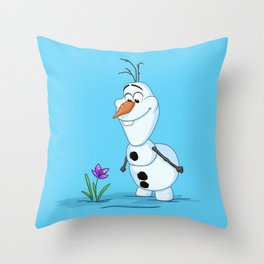 Olaf And The Flower Throw Pillow