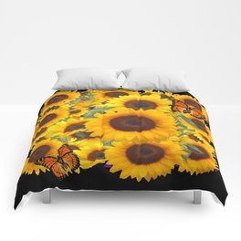 SUNFLOWER & MONARCHS IN BLACK ART Comforters
