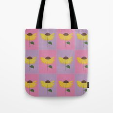 Yellow flower pattern on a pink and lilac background Tote Bag