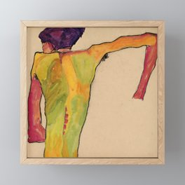 "Egon Schiele ""Male Nude, Propping Himself Up"" Framed Mini Art Print"