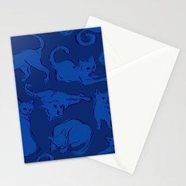 Cat Crazy navy blue Stationery Cards
