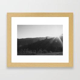 Black and White California Mountain Landscape Framed Art Print