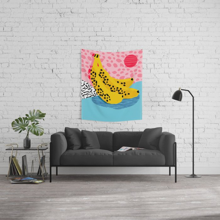What It Is - memphis throwback banana fruit retro minimal pattern neon bright 1980s 80s style art Wall Tapestry