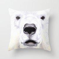 polar bear Throw Pillows featuring Polar Bear by StudioBlueRoom