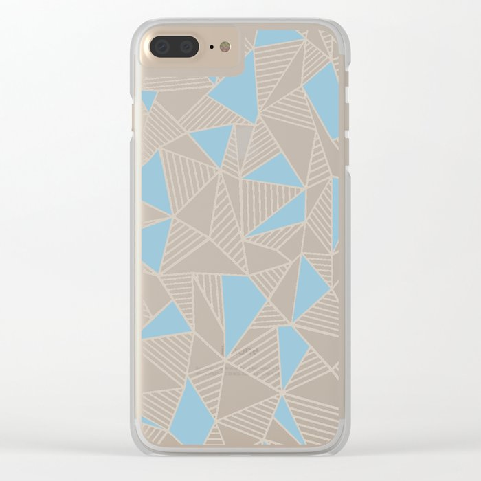 Ab Nude Lines with Blue Blocks Clear iPhone Case