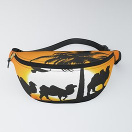 Camel silhouettes at sunset Fanny Pack