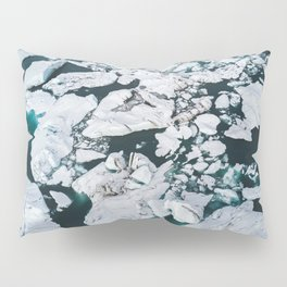 Icelandic glacier icebergs from above - Landscape Photography Pillow Sham